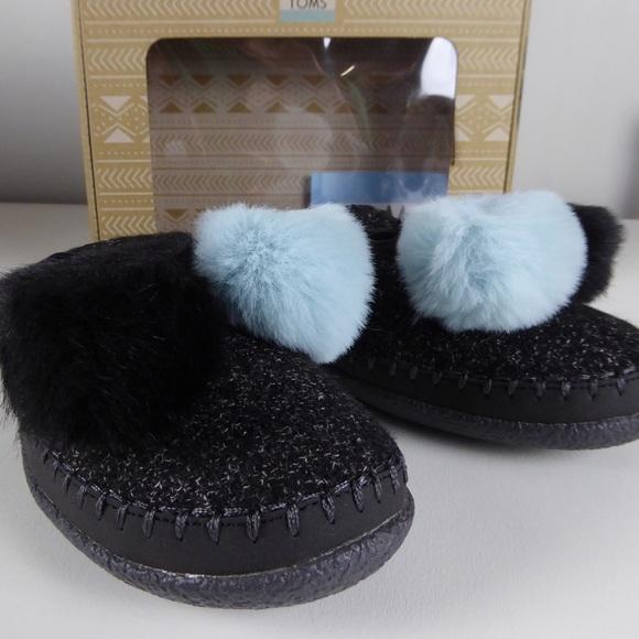 6fb83508b2a Toms Ivy Pom Pom Clog Soft Faux Fur Slippers NIB